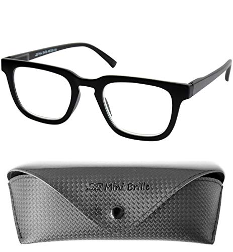 Trendy Nerd Leesbril Rechthoekig, inclusief GRATIS Brillenkoker, Dik Plastic Montuur (Zwart), Leeshulp Mannen en Vrouwen +3.5 Dioptrie