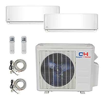 COOPER AND HUNTER 2 Zone Mini Split - 9000 + 12000 Ductless Air Conditioner - Pre-Charged Dual Zone Mini Split - Includes Two Free 25' Linesets - Premium Quality - USA Parts & Awesome Support
