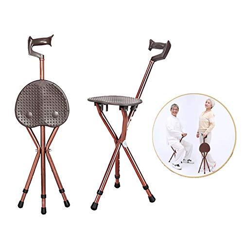 Caña De Caminar De Aluminio Ajustable con Asiento Plegable Taburete De Muleta Telescópico Bastón para Caminar Silla 3 Patas Bastón con Trípode