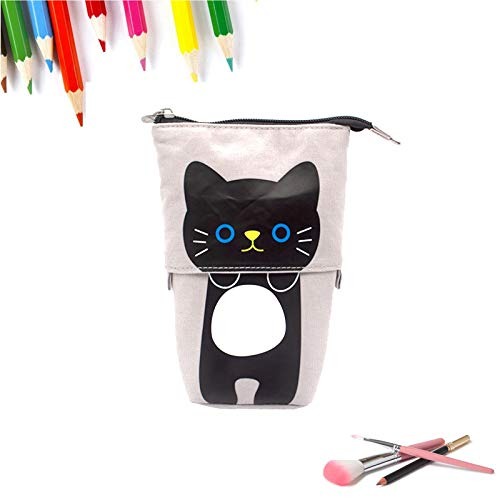 Jsdoin Cartoon Cute Cat Pencil Pouch Canvas Stationery Makeup Bag, Stand Pencil Holder,Student College Adult School Supplies & Office