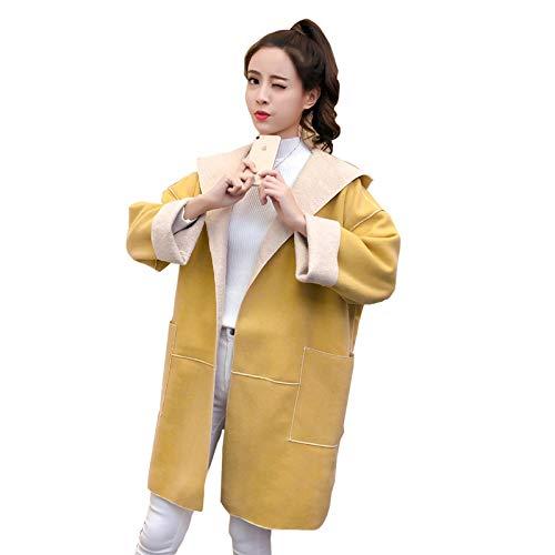 unknow Mujeres de manga larga con capucha de doble cara de lana abrigo coreano de color sólido abrigo