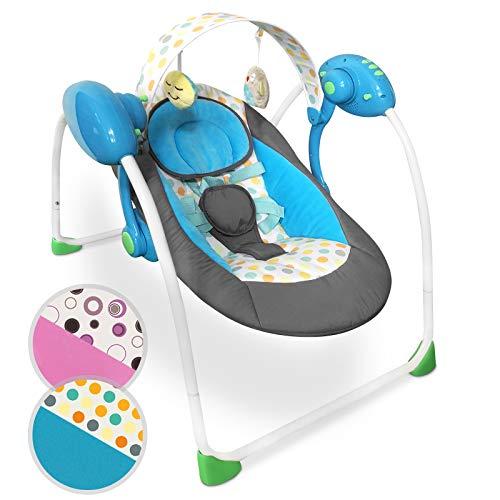 Infantastic® Babyschaukel - zusammenklappbar, mit Spielbogen und Musikfunktion, mit 5-Punkt-Sicherheitsgurt, Designwahl - Babywippe, Schaukelwippe, Wippe