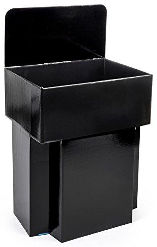 Set of Five - Cardboard Retail Dump Impulse Bins, 42 Inch Tall, 23.5 x 19.5 Inch, with Sign Header (Black)