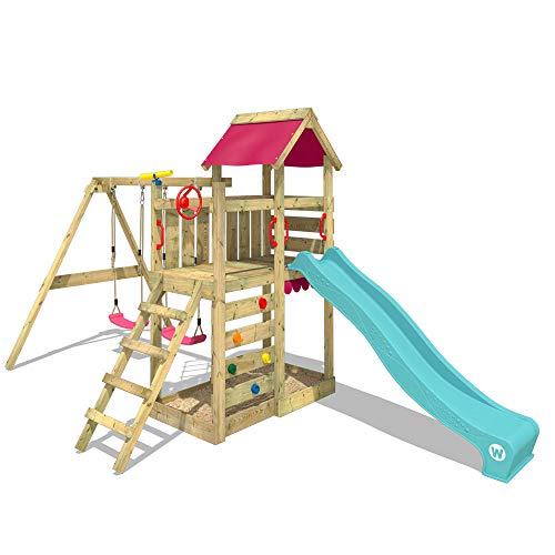 WICKEY Spielturm Klettergerüst MultiFlyer mit Schaukel & türkiser Rutsche, Kletterturm mit Sandkasten, Leiter & Spiel-Zubehör - 2