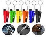 Shoplifemore Herramienta de escape de coche Mini martillo de seguridad multifunción martillo de seguridad para coche con cortador de cinturón de seguridad (rojo, 2 piezas)