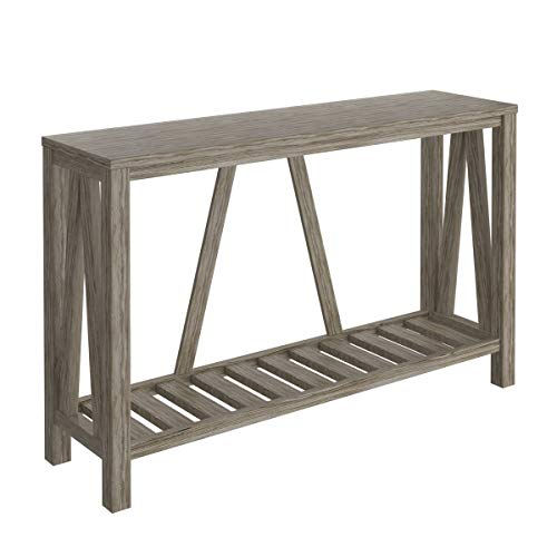 Giantex Console Table 50 Inch W/Slatted Storage Shelf and A-Frame Back Multi-Functional Home Furniture Entryway Table Suitablefor Hallway Living Room Bedroom Sofa Side Table (Grey)