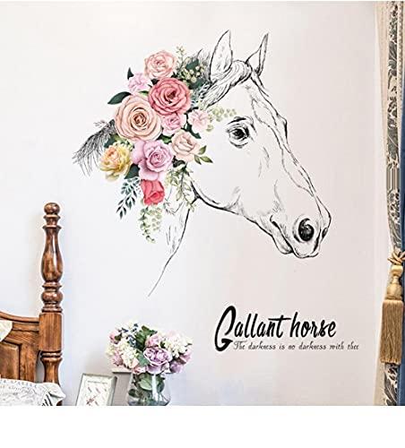 Pegatinas de pared creativas con cabeza de caballo, sala de estar, Fondo de TV, decoración de pared, pegatina de flores, decoración del hogar autoadhesiva, decoración de la habitación