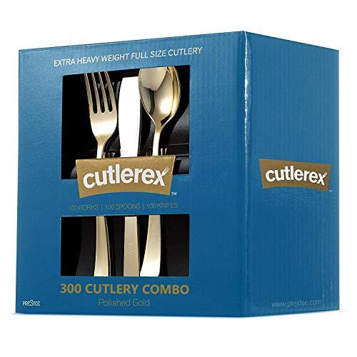 300 Gold Plastic Silverware Set - Plastic Gold ...