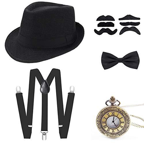 Wagoog 1920s Jahre Herren Gatsby Accessoires, 20er Mafia Flapper Kostüm Set mit Panama Gangster Hut, Verstellbar Elastisch Hosenträger, Halsschleife Fliege und Vintage Taschenuhr