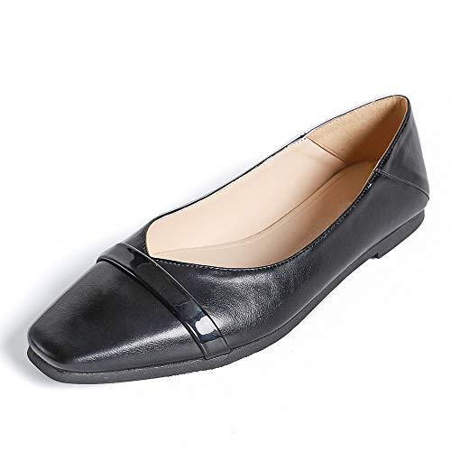 [SIDE BY SIDE] パンプス vカット ローヒール スクエアトゥ 2way パンプス 黒 歩きやすい ぺたんこ かかとが踏める バブーシュ 外履き 疲れにくい 痛くない シンプル 通勤 トレンド 履きやすい 軽量 フラットシューズ (横飾り, 2