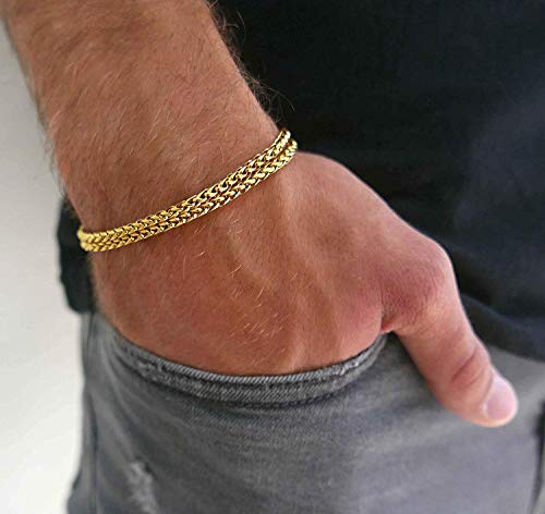 Handmade Cuff Chain Bracelet For Men Made Of Gold Plated Over Stainless Steel By Galis Jewelry - Gold Bracelet For Men - Cuff bracelet For men - Jewelry For Men - FITS 8