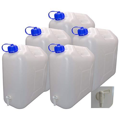 5 x 20 L Kanister mit Deckel, Zapfhahn und Ausgießer, natur Trinkwasser