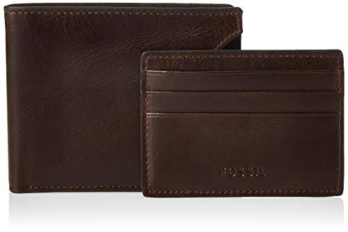Fossil Men's Derrick Leather Bifold Wallet, Dark Brown