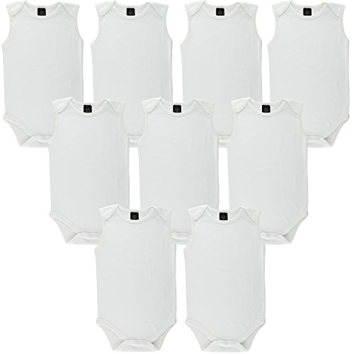 Baby Cotton Onesies White Undershirts Bodysuits 9 Pack by Little Pipers (18-24 Months, White Sleeveless (9PK))