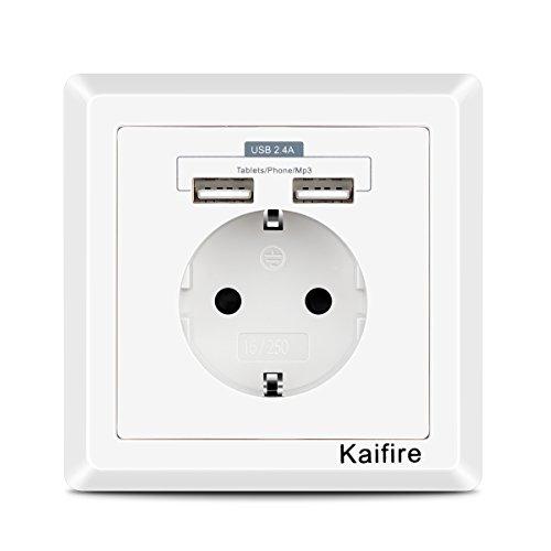 Kaifire USB Enchufe Pared 2.4A Schuko Toma de Corriente Estándar con 2 USB Conectores - Cargador Smartphone Tableta