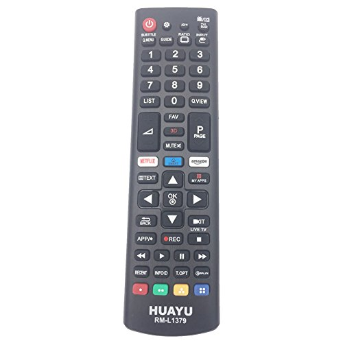 HUAYU RM-L1379 - Mando a distancia estándar para televisor LG Smart LED TV con botones 3D/Amazon/Netflix APP - AKB75095307, AKB75095303