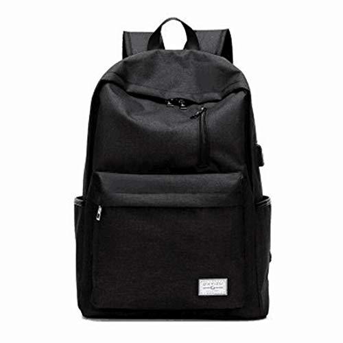 TEYUN Backpack with USB Charging Port,Water Resistant College School Computer Bag (Color : Black)