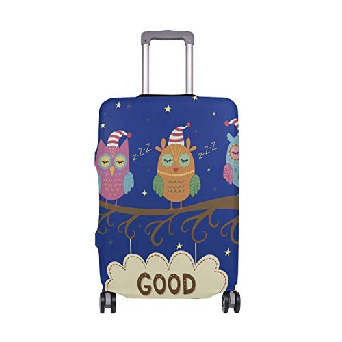 Quintion Robeson Chirstmas Cap Owl With Moon Luggage Cover Baggage Suitcase Travel Protector Fit for 18-32 Inch CAP-1249