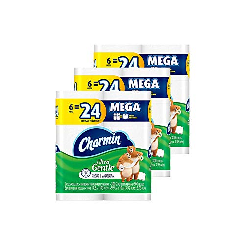 Charmin Ultra Gentle Toilet Paper (18MR) 6 Mega Rolls, 286 Sheets Per Roll