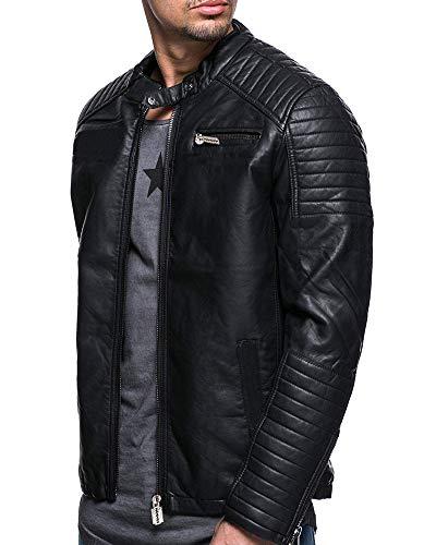 AnyuA Hombres Vintage Cuero Chaqueta De Estilo De Moto Negro L