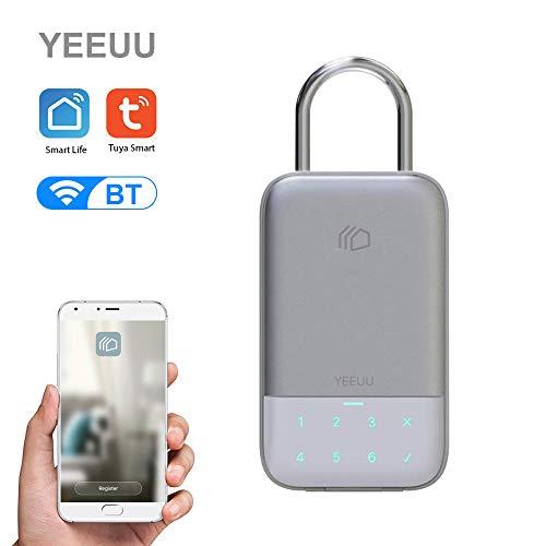 Leepesx YEEUU Tuya Smart Key Storage Box Lock BT 4.2 Wireless Network Password Key Safe Box App Control Remoto Aleación de Aluminio Key Lock Box Resistente a la Intemperie