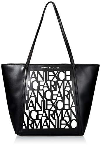 Armani Exchange AX Damen Logo All Over Shopping Bag Umhängetasche, schwarz/weiß, Einheitsgröße