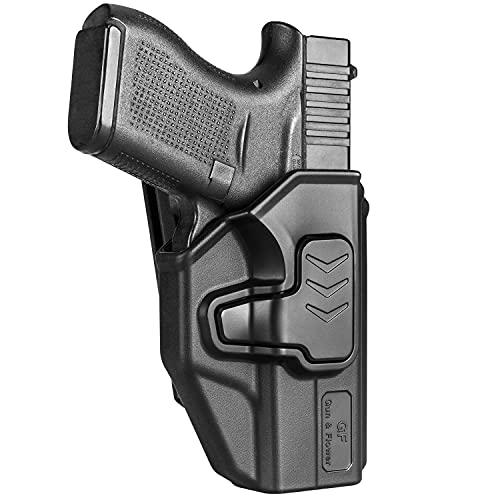 Compatible with Glock 43 Glock 43x, OWB Holster Fit G43 G43x, 360 Degrees Adjustable Belt Clip, Fit 1.5'' 1.75'' 2.0'' 2.25'' Wide Belt, Level II Retention Index Finger Release