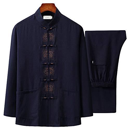 G-like Herren Kungfu Tang Anzug - Traditionelle Chinesische Kampfkunst Taichi Shaolin Wushu Qigong Langärmelig Gestickt Training Freizeit Kleidung Uniform Jacke Hose (Navy, M)