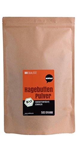 Escaramujo polvo–Natural pura–sin gluten–Certificado bio calidad–rohkost Calidad–Vegan–de wohltuer