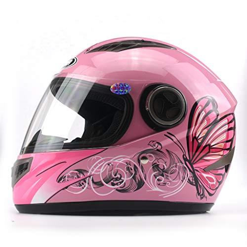 SMC Casco da Motociclista Elettrico da Uomo Casco Integrale da Donna Fantasia per Quattro Stagioni (Color : Pink, Dimensione : Anti-Fog)