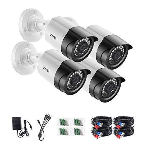 ZOSI 4X 1080p HD Außen Überwachungskamera Bullet Kamera Set mit Kabel und Netzteil, Nur kompatibel mit TVI 1080P CCTV DVR Sicherheitssystem