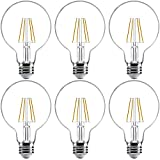 Sunco Lighting 6 Pack G25 LED Bulb, Dimmable, 5.5W=60W, 5000K Daylight, Vintage Edison Filament Globe, 500 LM, E26 Base, Indoor/Outdoor Lights - UL