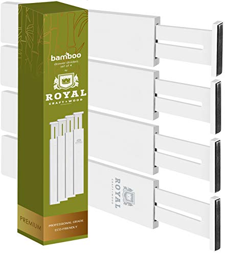 Adjustable Bamboo Drawer Dividers Organizers - Expandable Drawer Organization Separators For Kitchen, Dresser, Bedroom, Bathroom and Office, 4-Pack (17-22 IN, White)