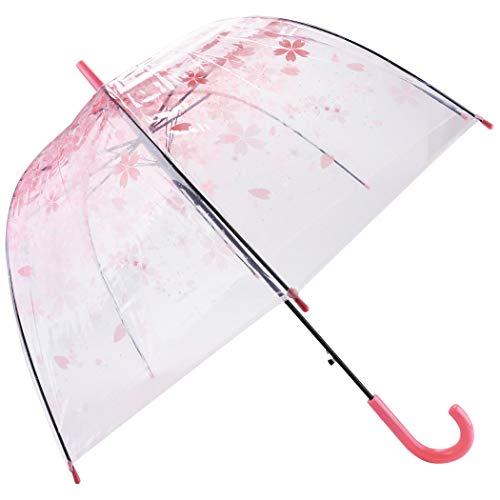 Outgeek Transparent Umbrella, Clear Bubble Cherry Umbrella Fashion Long Stick PVC Dome Sakura Umbrella for Women Kids Wedding