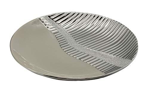 Dreamlight Moderne Dekoschale Obstschale Schale \'Valletta\' aus Keramik Silber/grau Durchmesser 28,5 cm