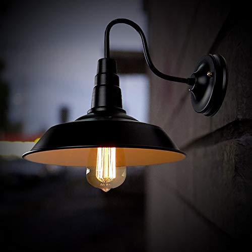 Flox - Lámpara de pared para interior y exterior, diseño de cuello de cisne industrial, color negro