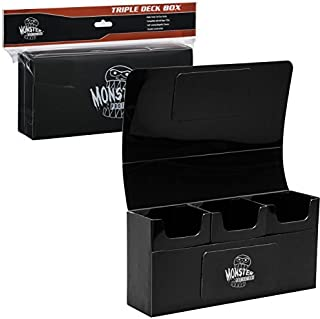 Monster Protectors Trading Card Triple Deck Box (Black) Fits Yugioh, Pokemon, Magic The Gathering Cards, Black