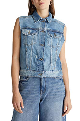 edc by ESPRIT Damen 040CC1H301 Jeansweste, 902/BLUE MEDIUM WASH, XS
