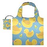 Bolsas reutilizables para la compra – Bolsa plegable de tela de reciclaje de pato amarillo con bolsa