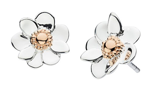 Dew Sterling Silver and Rose Gold Plate Anemone Flower Stud Earrings 4084RG