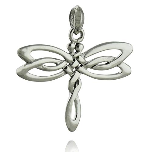 Celtic Dragonfly Pendant - 925 Sterling Silver Irish Knot Insect Wings NEW Cute Qualitative Charm
