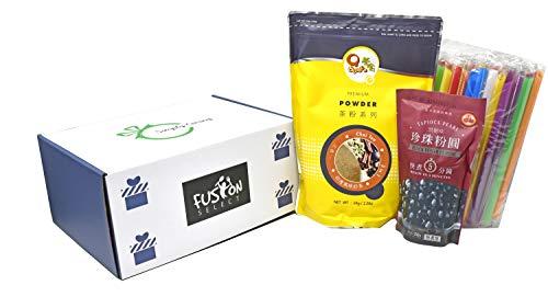 Qbubble Tea Chai Tea Powder 2.2 Pound With 50pcs Bubble (Large) Straw and WuFuYuan - Tapioca Pearl (Black) - Net Wt. 8.8 Oz in Fusion Select Gift Box