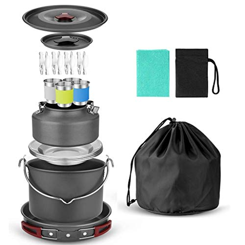 ATAI 22pcs Camping Cookware Mess Kit for 4 People with Base Cook Set, Cups Dishes Forks Spoons Kit for Outdoor Camping Hiking and Picnic
