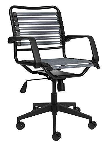 Bungee Office Task Chair, with Flat Elastic Bungie Straps, Adjustable Height (Dark Grey)