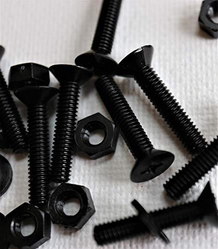 50x tornillos de cabeza plana de nailon negros, tornillos de estrella de plástico,M4 x 20mm, Tornillos, Tuercas, Arandelas