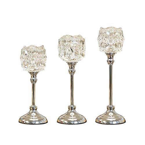 LAMZH Candlestick Candlelight Dinner Prop Continental Crystal Candle Holder 3 Set in Different Size Candlestick Holders (Color : Silver, Size : 11X36.5cm)