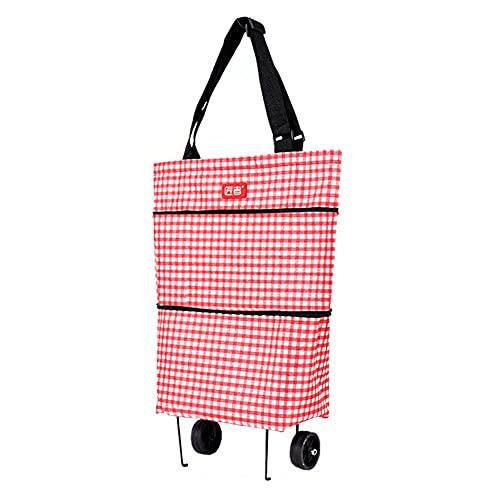 2 in1 Einkaufstrolley Einkaufskörbe Klappbare, Einkaufstasche mit Rollen, Wiederverwendbar, Strapazierfähig, Zusammenklappbar für Einfache Lagerung (Rosa, Einkaufstrolley)