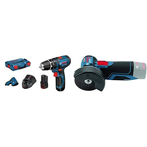 Bosch Professional - Taladro percutor a batería GSB 12V-15 (2 baterías x 2.0 Ah, 12 V, en maletín L-BOXX) + Bosch GWS 10,8-76 V-EC Professional - Tecnología De Litio: Gama 12 V