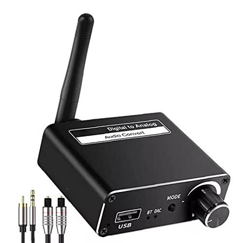 Sraeriot Digital a Convertidor Analógico Óptico Coaxial Coaxial Al Adaptador De Salida De Audio De 3.5 Mm De 3,5 Mm Receptor Bluetooth
