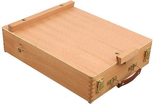 Estante de almacenamiento en estante, caballete - Caballete para principiantes de escritorio Cajón de caballete pequeño Caballete de madera de haya Caballete de caja de pintura al óleo plegable portá